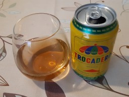Trocadero driink in a glass with the empty Trocadero drink can next to it.