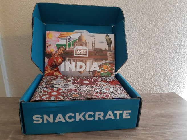 Snackcrate box and packaging for Indian snacks. CCL applies. Please give credit.
