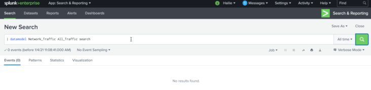 Figure 1 - Pre-data mapping, the search returns no results in Splunk