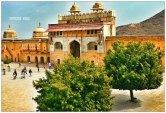 The view of the Amer fort from the top.. I Love the two trees standing alone in this vast expanse which is surrounded by the beautiful walls of the Fort.. #drama