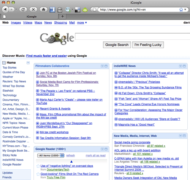 Part of my iGoogle page