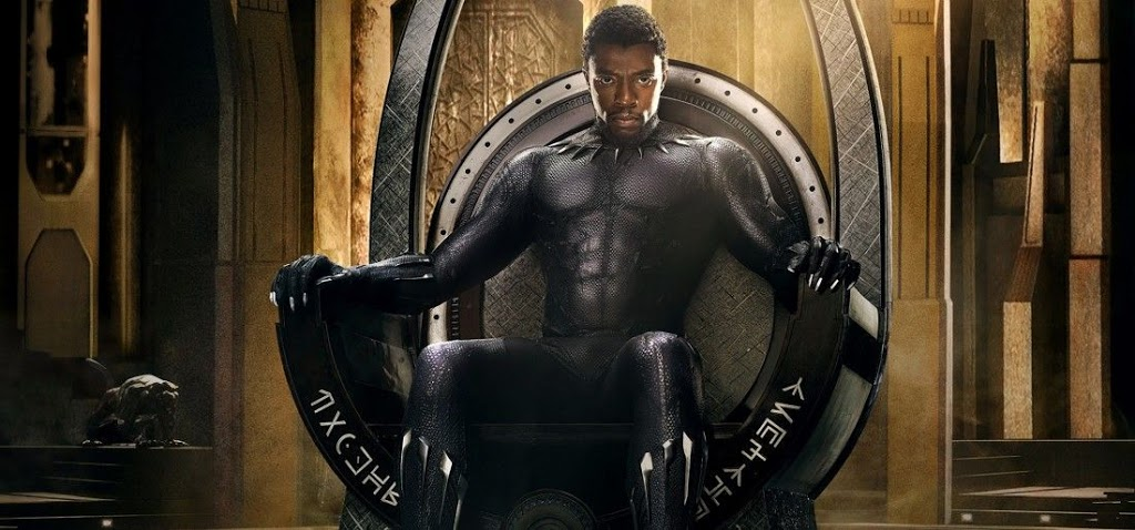 Black Panther sits on his throne
