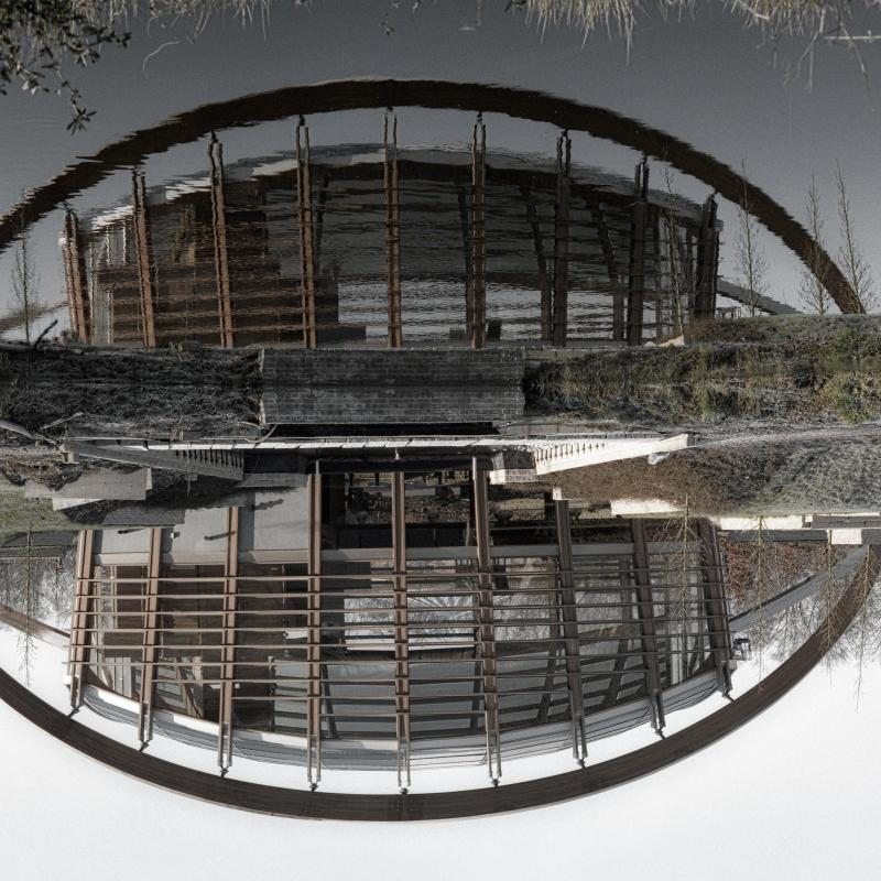 Wood and ice at Green Pavilion Baarn Netherlands