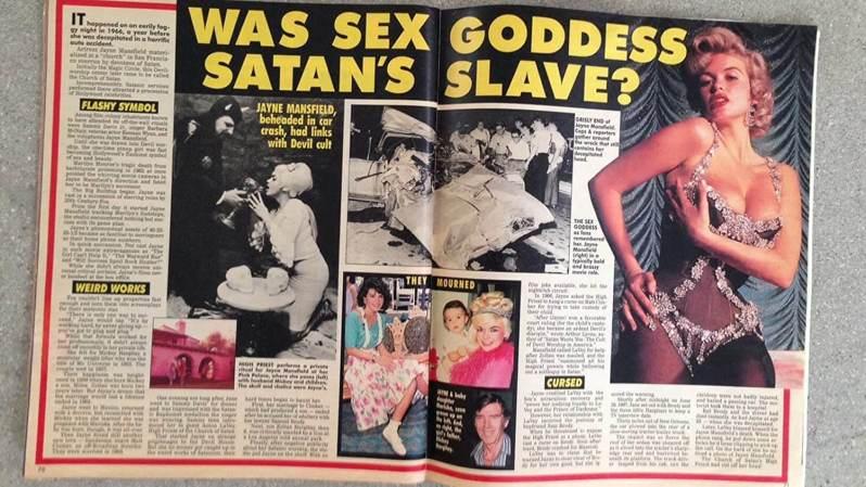 Wycinek gazety dotyczący Jayne Mansfield, rok 1967
