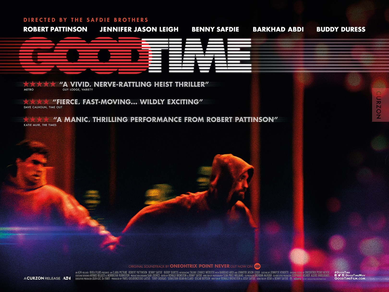 Good Time Poster, Two brothers wearing hoodies, running.