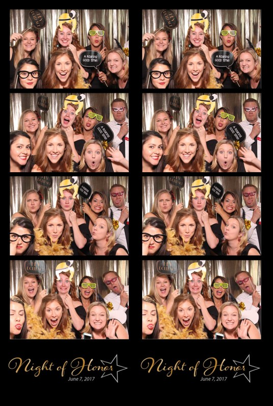 photo booth print, 4 photos and logo from photo booth print, group with props in photo booth, gold background photo booth