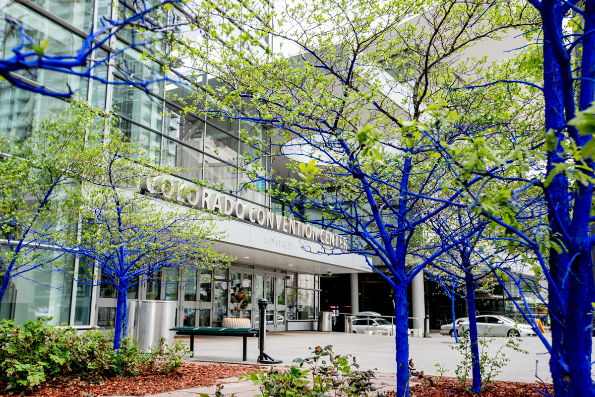 Colorado convention center, photographer, blue trees, #konsbluetrees why are the trees in Denver blue Denver photographer, blue trees downtown Denver, save the environment, volunteers, non-profit photographer, Denver, Visit Denver, conference photographer, blue trunks green leaves, CCC sign