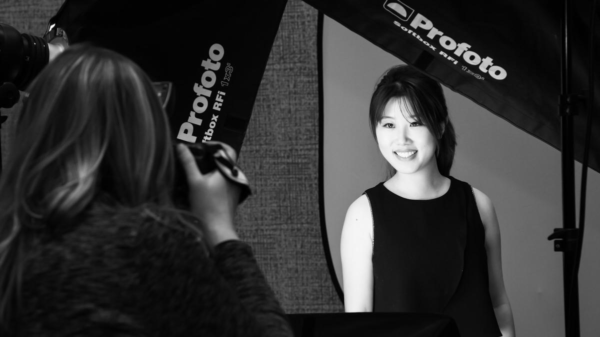 behind the scenes of a photoshoot, salt lake city headshot photographer, black and white headshot, Utah headshot photographer