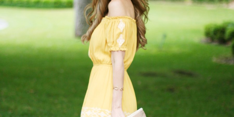 kinsey walsh in off the shoulder yellow peasant dress under $25