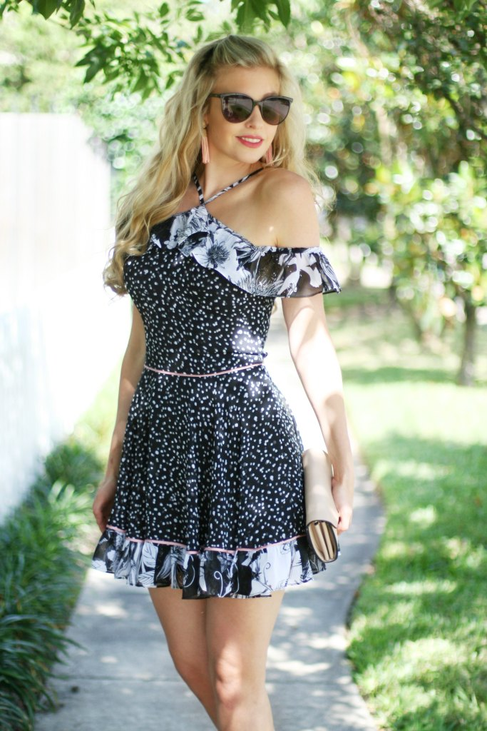 off the shoulder black and white mixed print party dress kinseywalsh.com