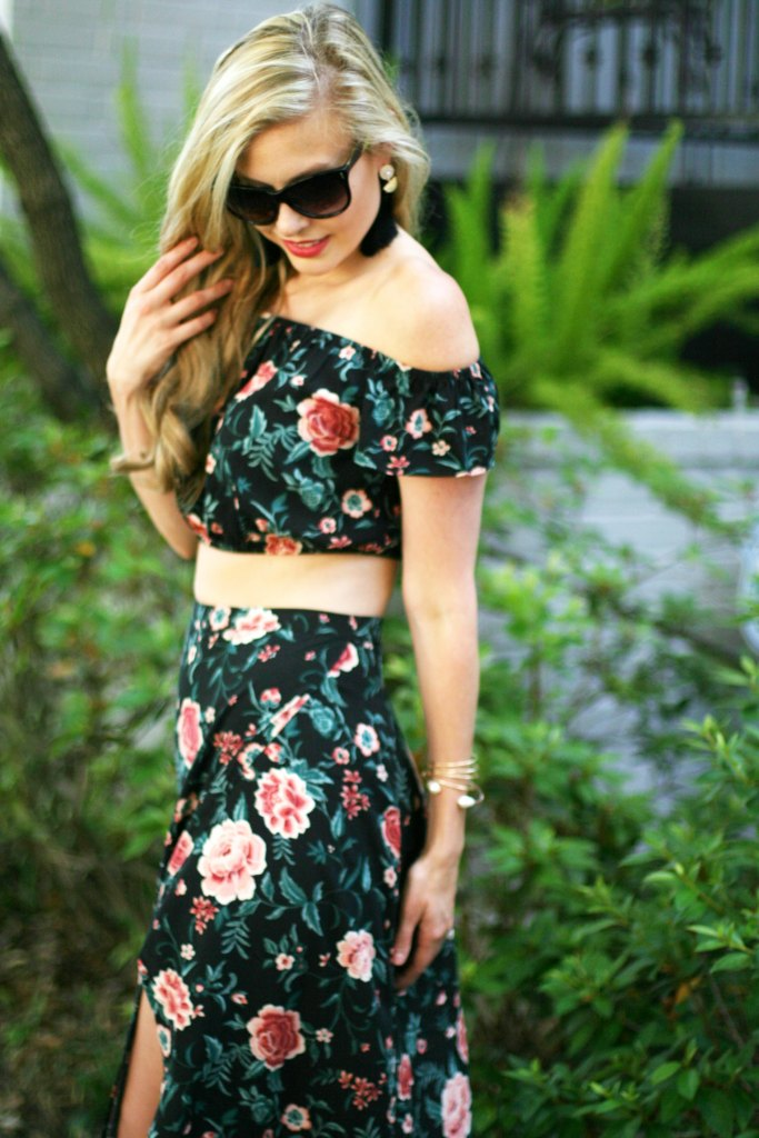 matching 2 piece sets for spring crop top maxi skirt