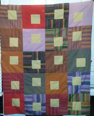 Summer Song quilt pattern tested by Elaine Stevens done in shot cotton Kaffe Fassett wovens in solids & stripes