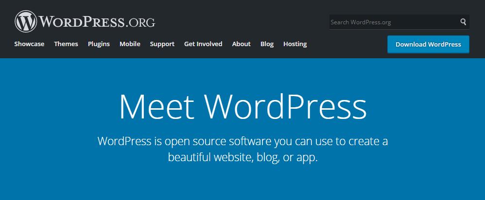 La página principal en WordPress.org