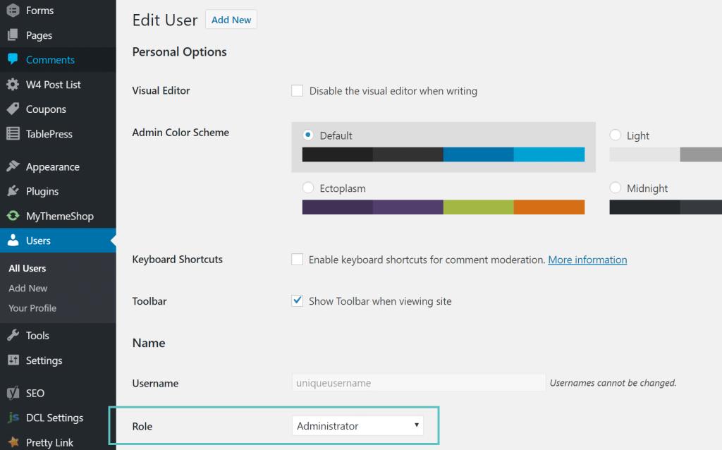 Rol de Administrador WordPress