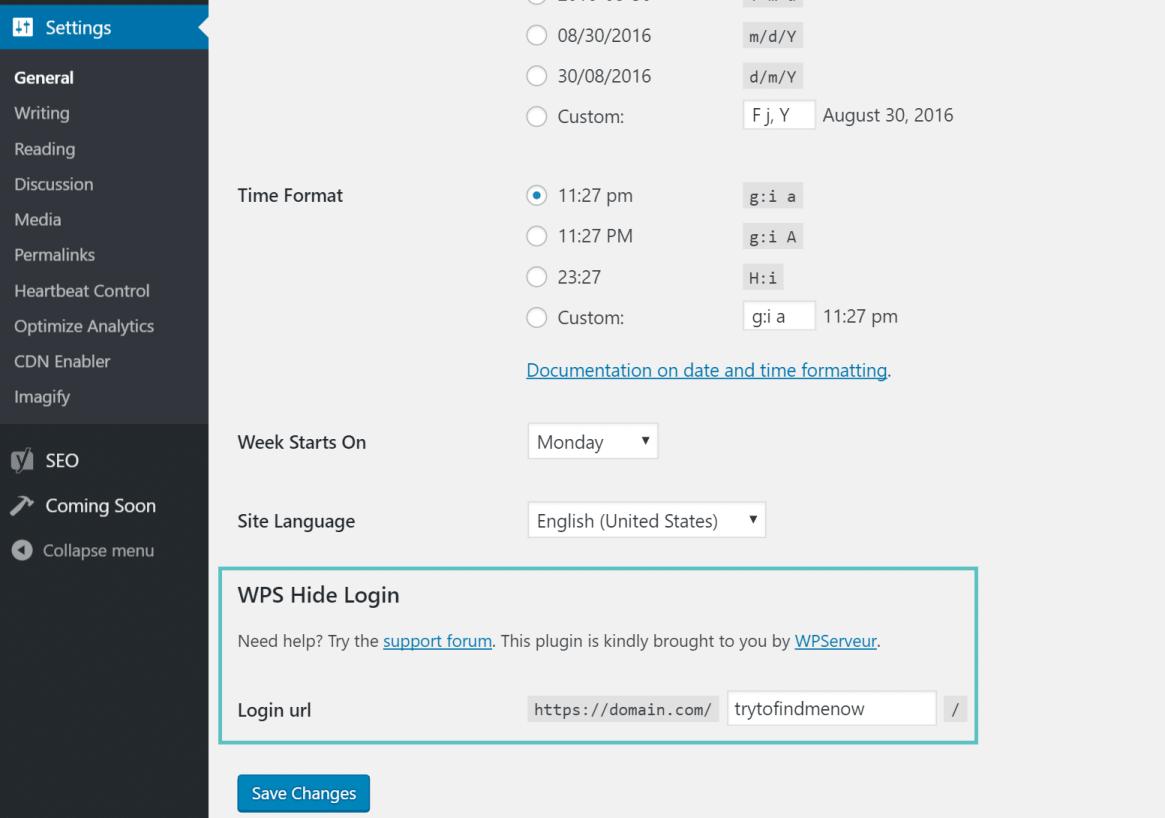 cambiando su url de inicio de sesión de WordPress