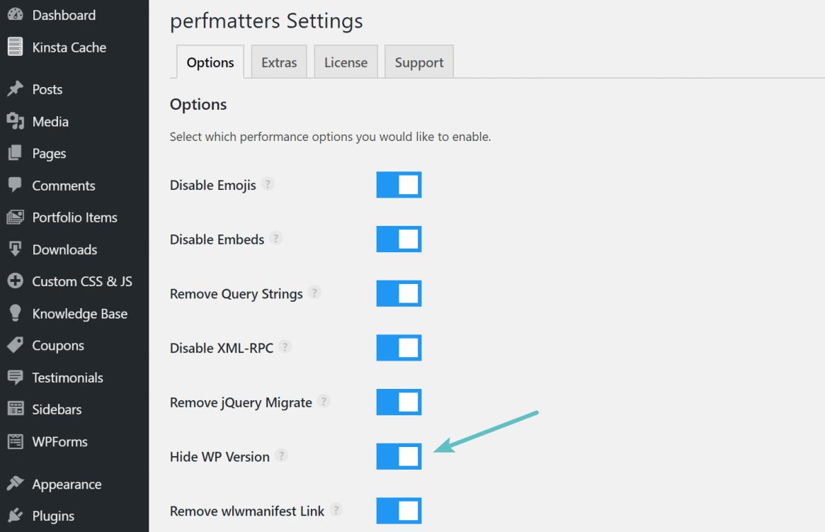 Ocultar la versión de WordPress con perfmatters