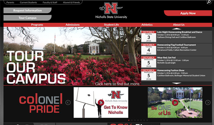 nicholls state university wordpress sites