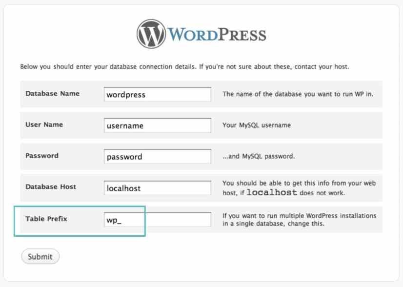 prefijo de tabla de wordpress