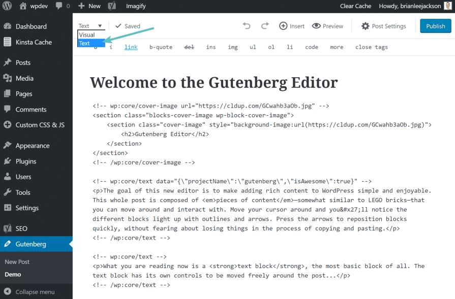 editor teks gutenberg