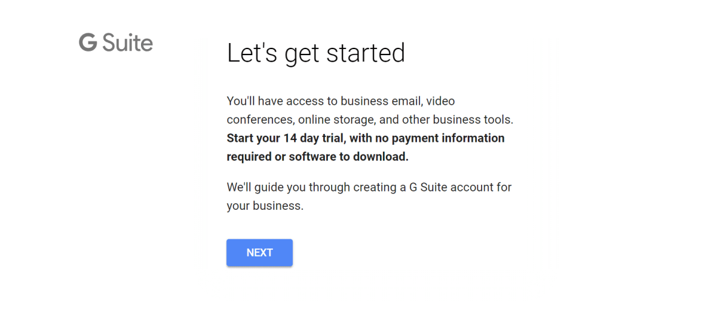 Free trial G Suite