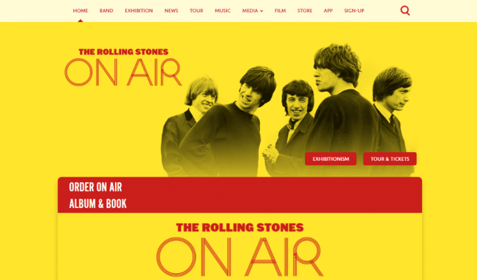The Rolling Stones band website uses WordPress