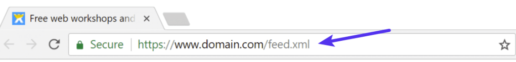 URL for the Wix RSS feed.