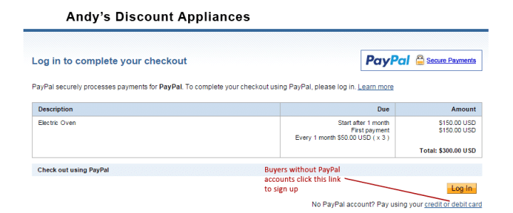 PayPal payment plan