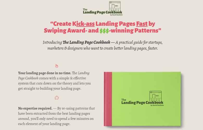 L'ebook del ricettario della landing page