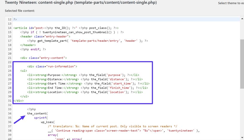 Nơi để thêm mã trong tệp mẫu chủ đề