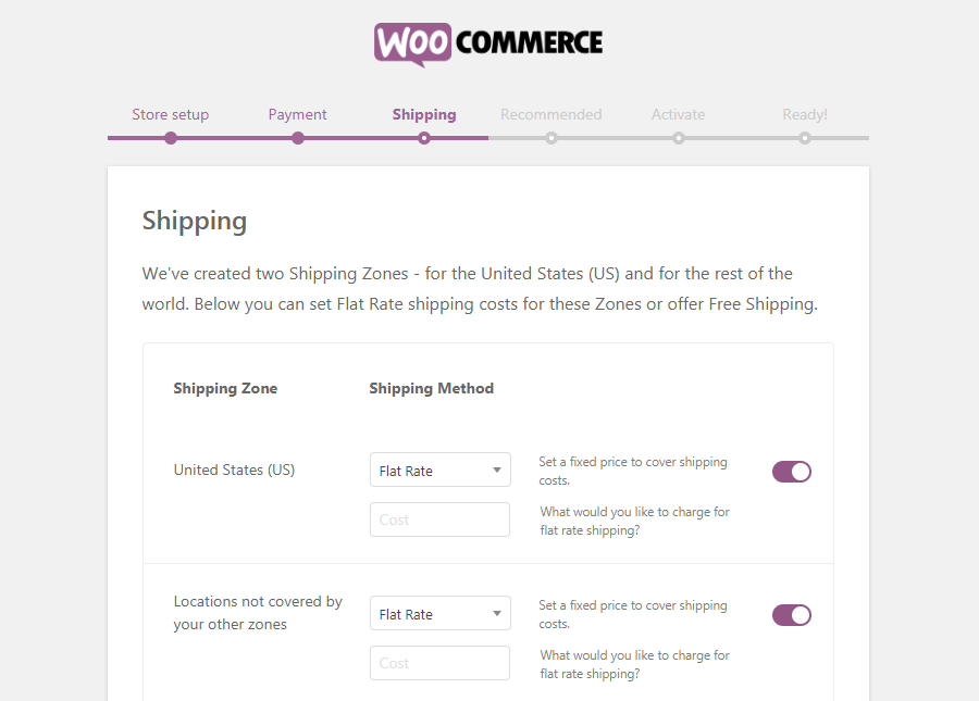 The WooCommerce Shipping page