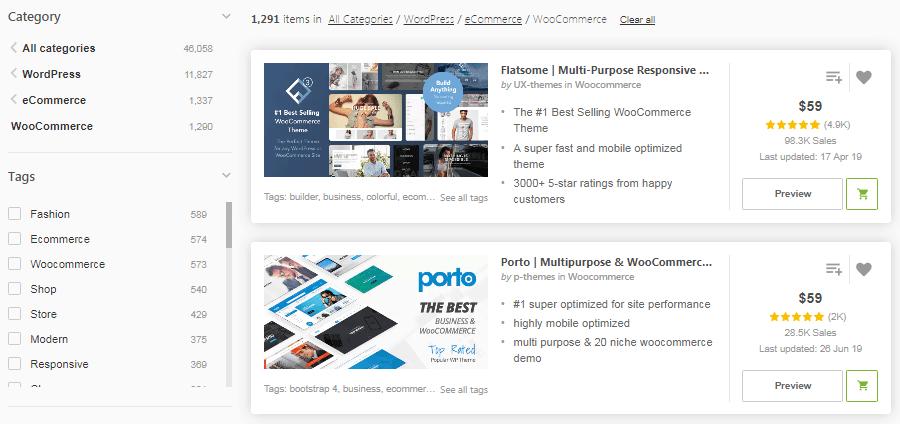 Una selección de temas de WooCommerce