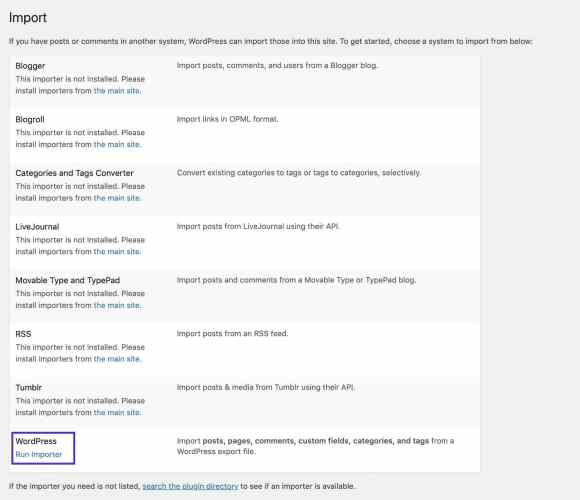 The WordPress importer