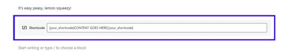How Gutenberg's standalone Shortcode Block looks
