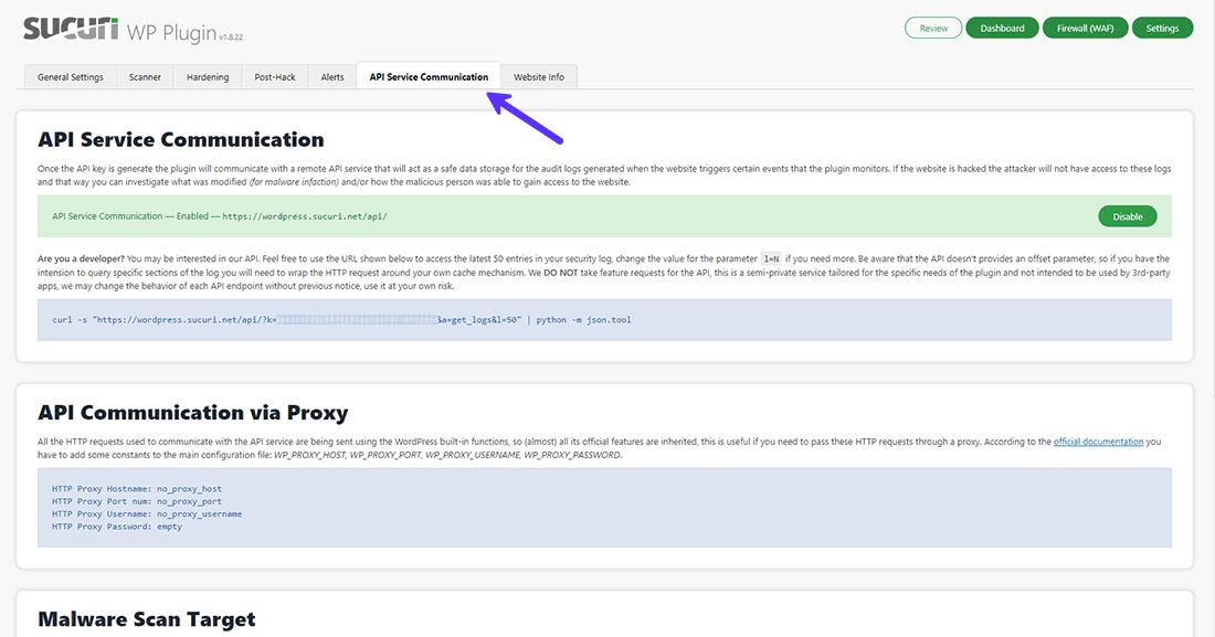 Panel pengaturan Komunikasi Layanan Sucuri Security API