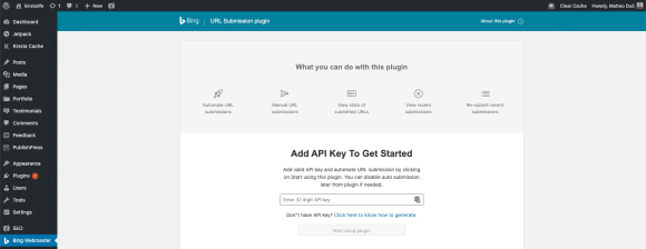 Activating the Bing URL Submissions WordPress Plugin