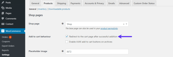 WooCommerce Product settings panel to enable Redirect to Cart behavior