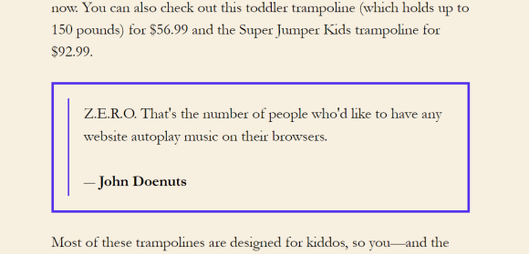The original quotation box as outputted by the shortcode defined in the Custom Hooks Demo plugin