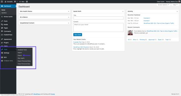 WordPress export tool