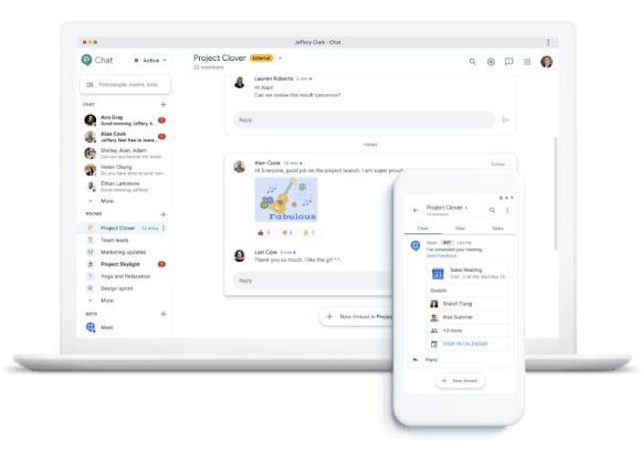 Google Chat interface