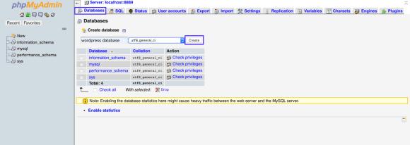 mamp create database