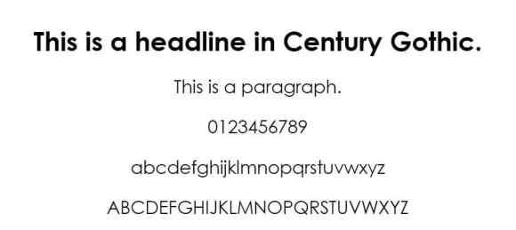 century gothic font - web safe fonts