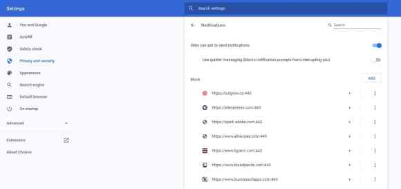 chrome settings notifications settings