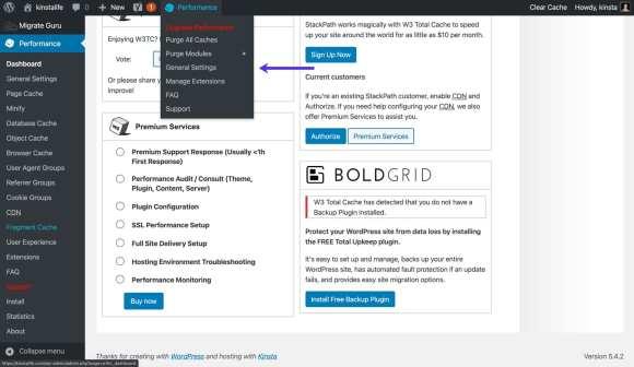 W3 Total Cache admin toolbar settings.