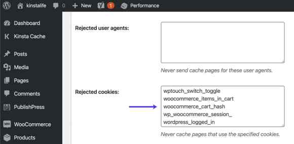 Bypass WooCommerce cookies in W3 Total Cache.