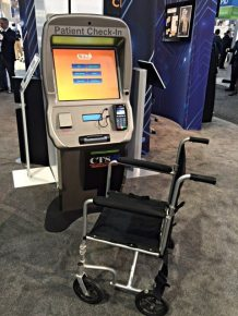 The PPE or Patient Passport Kiosk with a high bright screen.