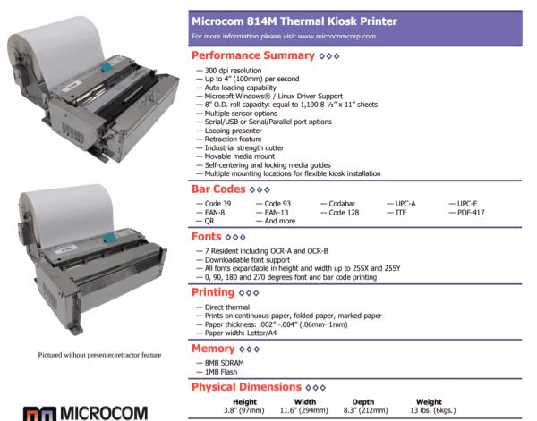 wide thermal kiosk printer