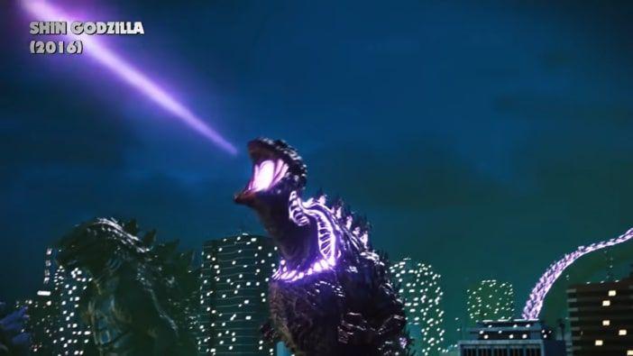aliento atómico color morado de Godzilla