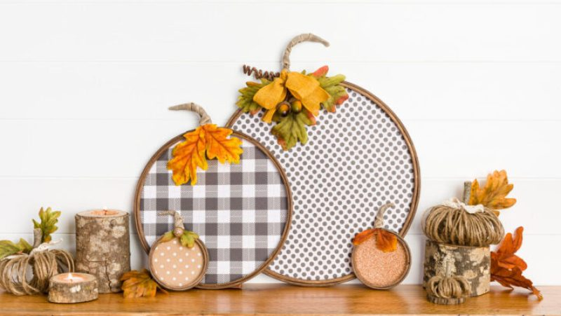 Paper Pumpkin collection sitting on a wood mantel