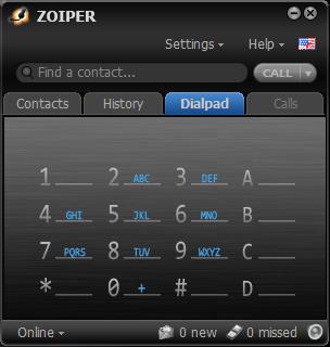 Zoiperダイヤルパッド