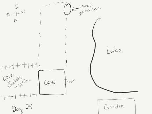 "Sketch, well, more like a map, as it's an overhead view. The right side is taken up by a lake. The left bottom quadrant shows the cave's main entrance, behind it a fenced-in area for cows and chickens and such, and just below the right edge of the lake an area marked ""garden"". from the cave, a dotted outline indicates the new cave entrance at the top of the sketch, near the lake."